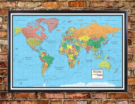 maps special edition smithsonian journeys world wall map blue ocean special edition
