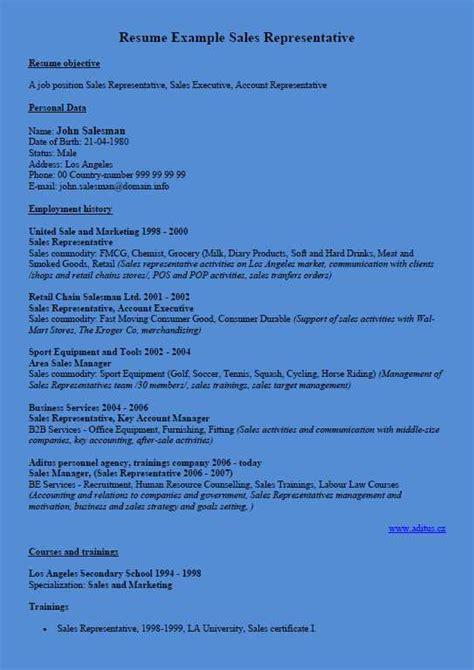 curriculum vitae exle sales representative blue