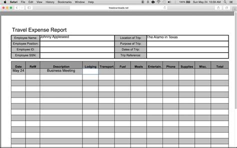 travel expense report template 1 excel expense reports