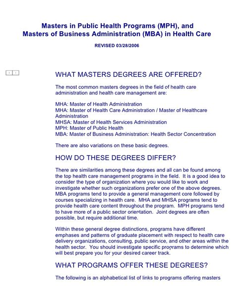 Mph Mba Degree by Masters In Health Programs