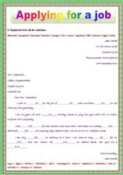 Application Vocabulary Worksheet by Teaching Worksheets Applying For A