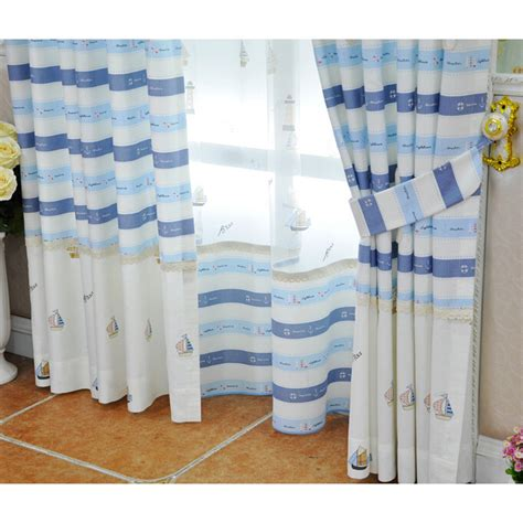 nautical sheer curtains light white blue yarn print nautical striped sheer curtains