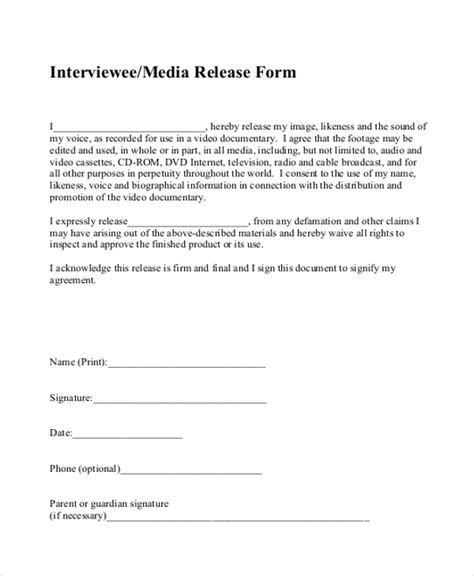 Sle Media Release Form 10 Free Documents In Pdf Standard Media Release Form Template