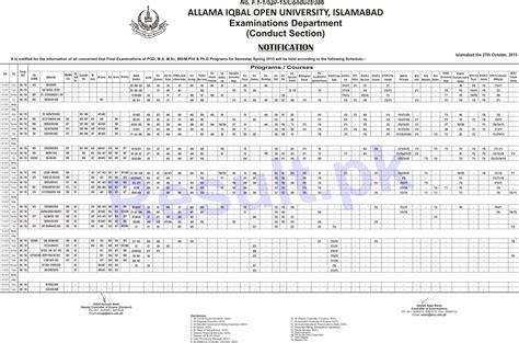 date sheet for day allama iqbal open date sheet 2018 2017 aiou