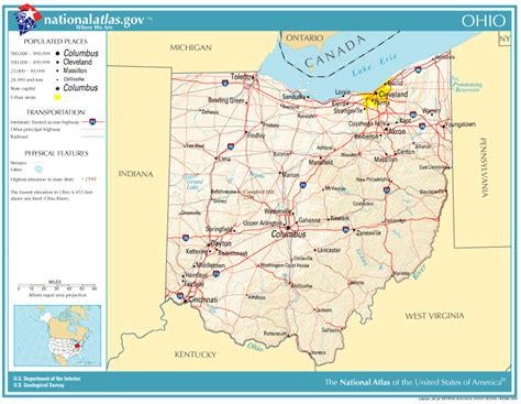 geographical map of ohio united states geography for ohio