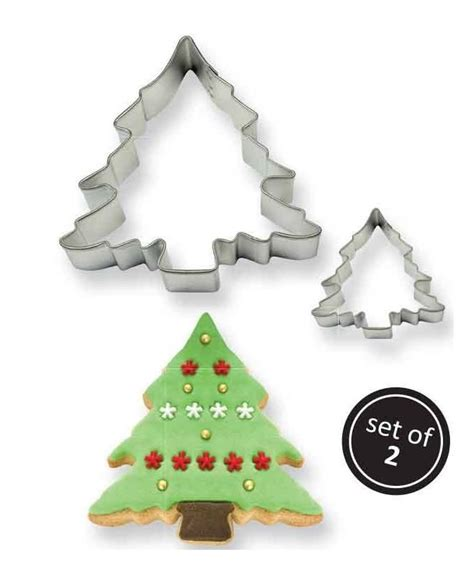 cookie cake christmas tree cutter set of 2