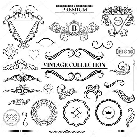 vintage menu design elements vector set vintage set decor elements for menu elegance old hand