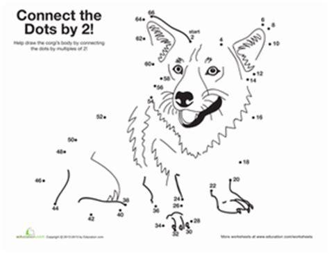 printable dot to dot counting by 2 s skip counting corgi worksheet education com