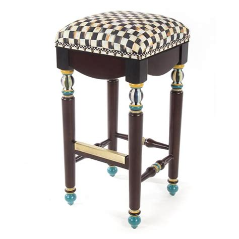 Stool Checker by Mackenzie Childs Courtly Check Underpinnings Bar Stool