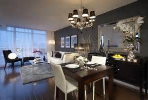Dining room living room combo love the furniture and the mirror more
