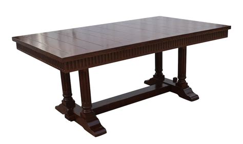 Salvaged Wood Trestle Extension Dining Tables Cambria Rustic Extension Trestle Dining Table Built In Reclaimed Wood Mortise Tenon
