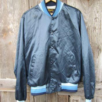 Jaket Varsity Giord Navy Leather 70s shiny blue swingster baseball jacket from yearssinceyesterda