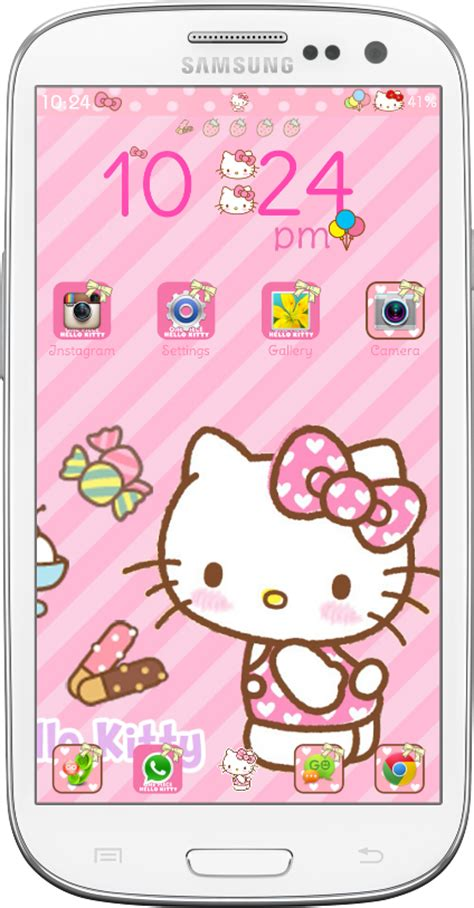 download go launcher theme hello kitty for android by hello kitty strawberry go launcher theme android themes