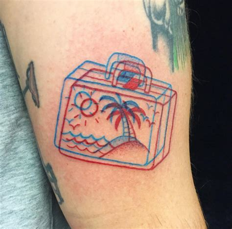 tattoo 3d red blue le tattoo invisible sans lunettes 3d