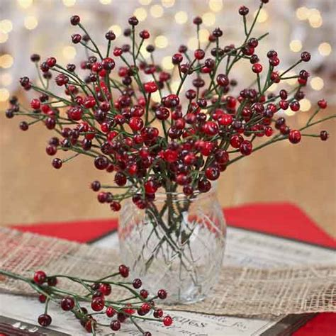 artificial deep red berry picks holiday florals
