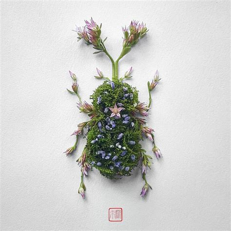 fiori e foglie artista trasforma fiori e foglie in coloratissimi insetti