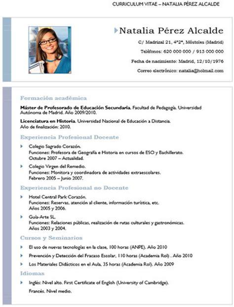 Plantilla De Curriculum Vitae Para Docentes Plantilla Cv N 186 7
