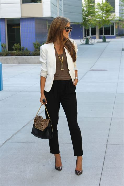 white blazer neutral colored tank black jeans pants fashion tips for tall women glam radar