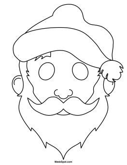 santa mask coloring page printable santa claus mask