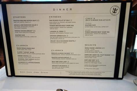 the room menu new dining room menus on oasis of the seas