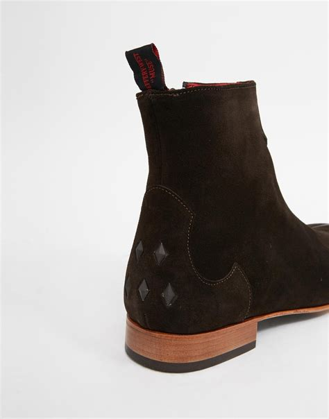 west boots jeffery west suede zip boots in brown for lyst