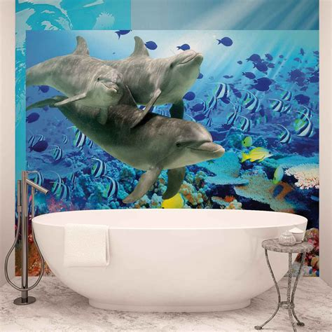 fish wall murals dolphins tropical fish wall paper mural buy at europosters