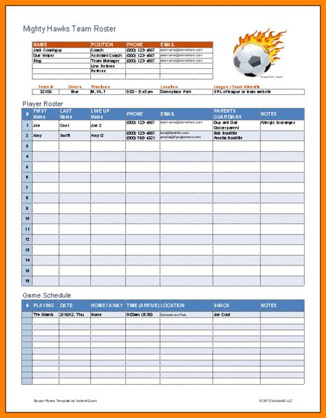 Football Roster Card Template by Sport Tournament Template Protime Sports 3542 Soccer Ref