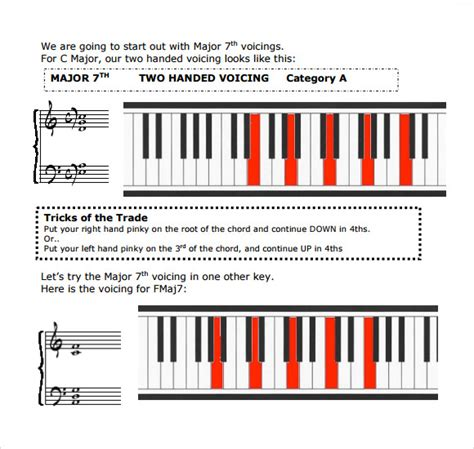 printable chord progression chart for piano sle piano chord chart 8 free documents in pdf