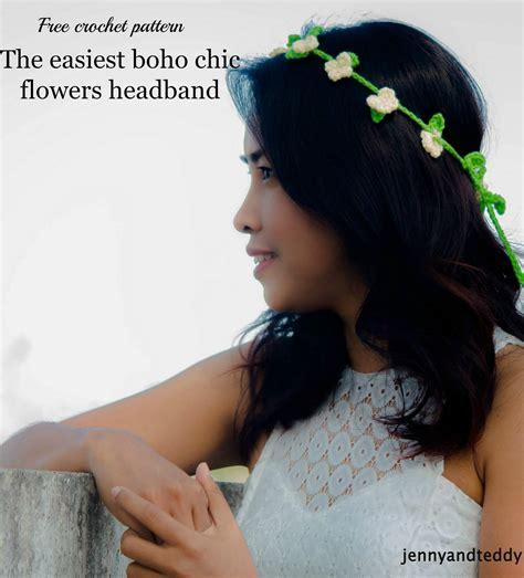 crochet flower headband the trio boho chic flowers headband free crochet pattern