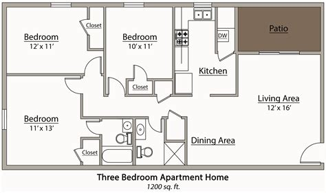 Floor Plans For 3 Bedroom Apartments | 26 decorative 3 bedroom apartment plan house plans 87223