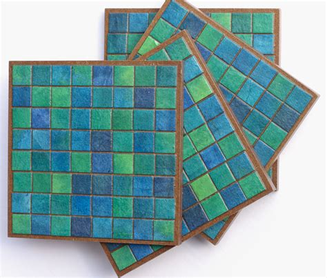Handmade Mosaic Tiles - coasters handmade paper blue green mosaic tiles on luulla