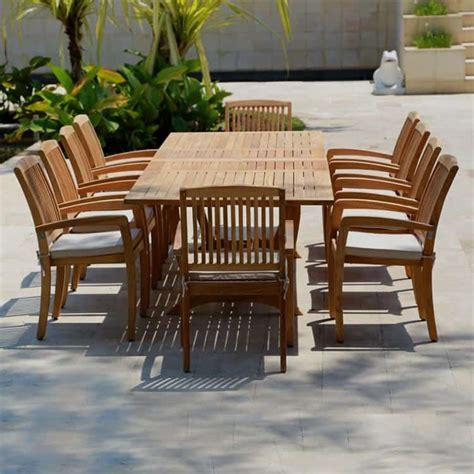 pc teak outdoor dining table set milano rectangle