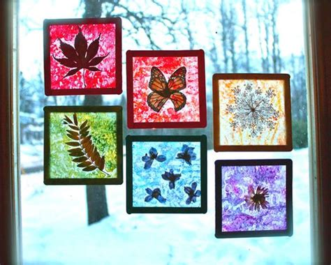 How To Make Stained Glass With Wax Paper - nature craft for rainbow stained glass suncatchers