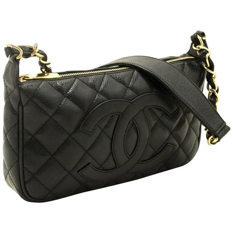 Black Quilted Chain Shoulder Bag by Chanel Caviar Mini Small Chain Shoulder Bag Black Quilted