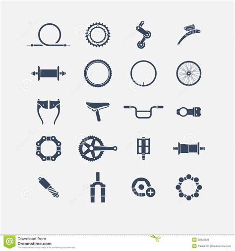 bike parts list template bicycle parts icons stock vector image 50832826
