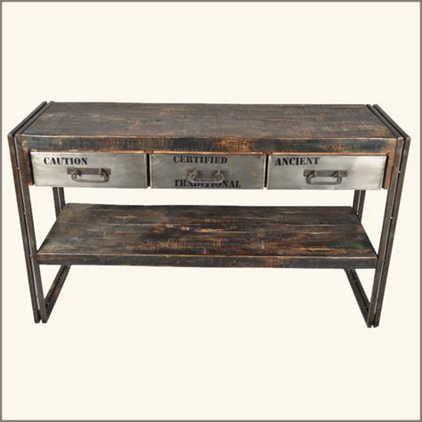 reclaimed wood entry table rustic industrial 3 drawer reclaimed wood iron entry