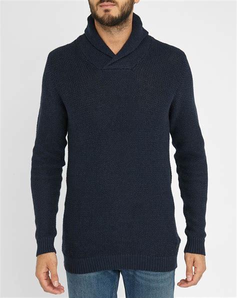 Sweater Navy jones navy jjcoforce shawl collar sweater in blue