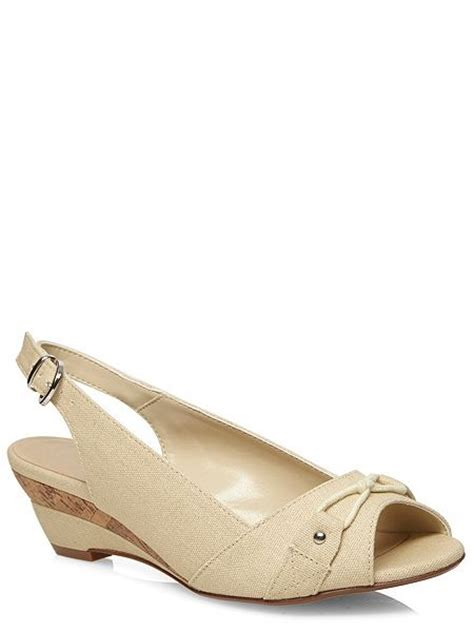 wide fit ivory canvas peeptoe wedge shoes