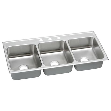 three basin kitchen sink elkay lustertone drop in stainless steel 46 in 3 basin kitchen sink ltr46223 the