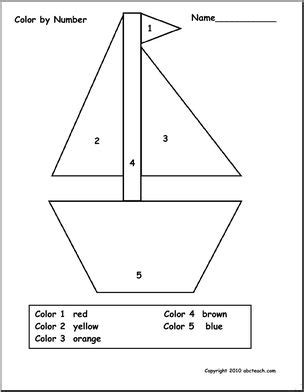 sailboat numbers boat theme prek 1 color by number abcteach