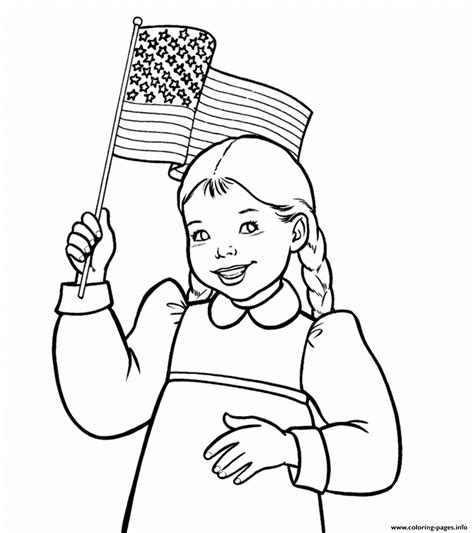 Girl Waving American Flag Coloring Pages Printable Kaya American Coloring Pages Free