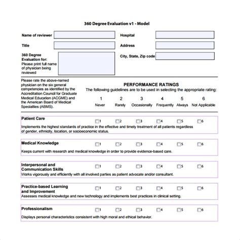 10 Sle Best 360 Evaluation Templates Sle Templates 360 Degree Review Template