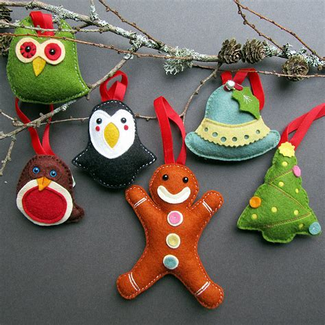 deluxe box of handmade felt christmas decorations by