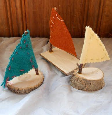 simple boats  rounds  wood  twig   mast
