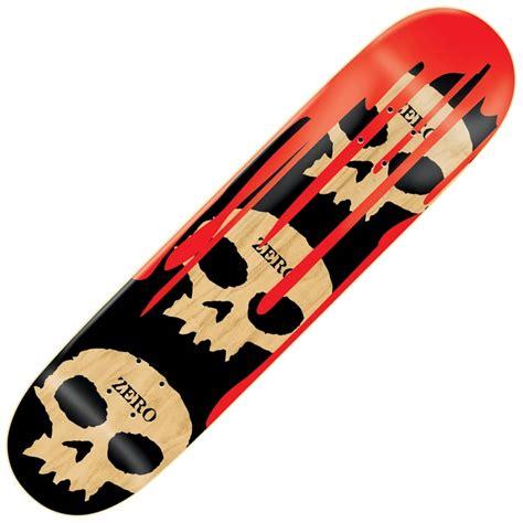skateboard decks uk zero skateboards 3 skulls with blood black