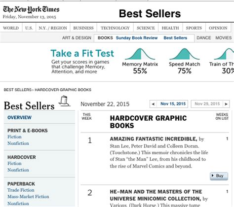 bestseller list biography amazing fantastic incredible stan lee tops new york times