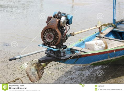 fishing boat engine propeller motor with small propeller in a fishing boat stock image