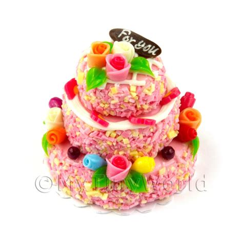 dolls house cake cakes and slices three tier cakes dolls house miniature mytinyworld