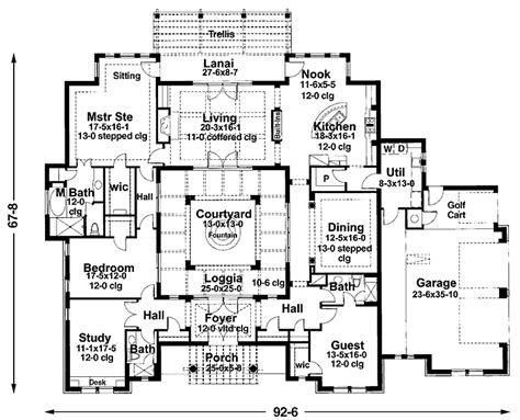mediterranean courtyard house plans grundplaner 1plan