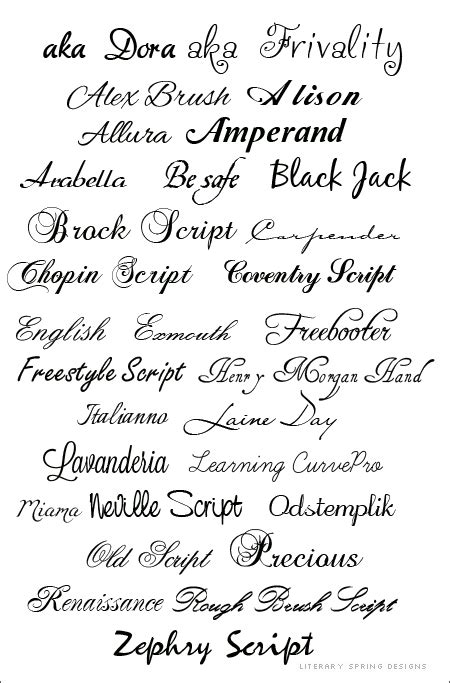 Curly Fonts   Literary Spring Designs